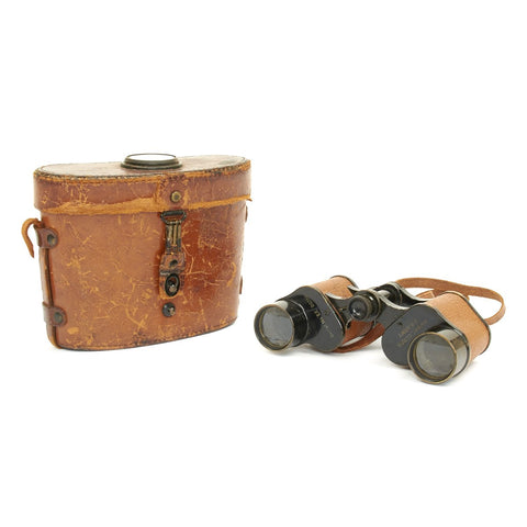 Original U.S. WWI Army Signal Corps Binoculars by Bausch & Lomb with Compass Equipped Leather Case