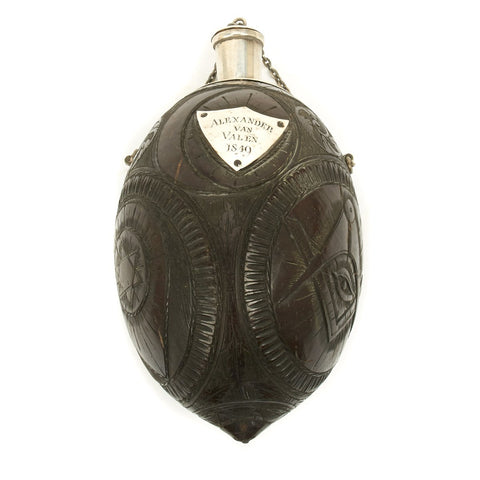 Original U.S. California Gold Rush Carved Coconut Shell Flask named to Alexander Van Valen - Dated 1849