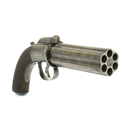 Original British Victorian Six-Shot Percussion Pepperbox Revolver by Samuel Nock - Circa 1850