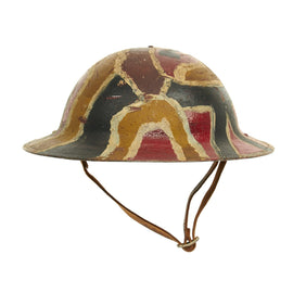 Original U.S. WWI M1917 84th Infantry Division Helmet with Camouflage Textured Paint