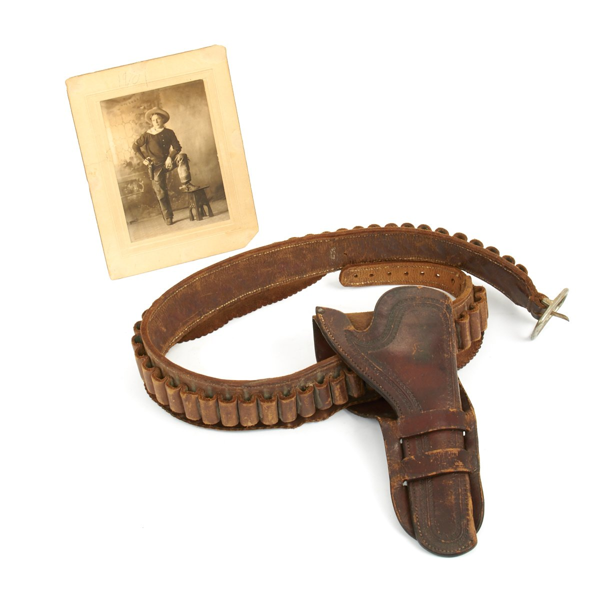 Original U S  Old Western Leather Revolver Holster and Gun