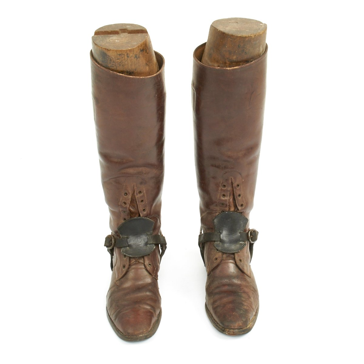 Original British Wwi Officers Leather High Boots With Wooden Boot