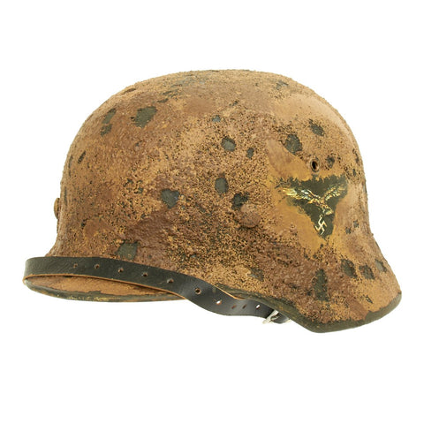 Original German WWII M35 Refurbished Luftwaffe Afrikakorp Double Decal Helmet - Stamped Q64