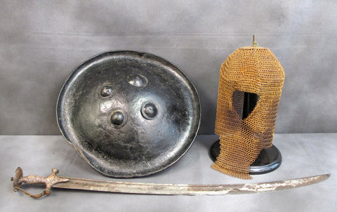 Indo-Persian Kula Kud War Helmet with Tulwar Sword & Dhal Shield Original Items
