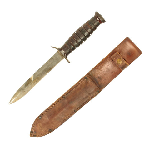 Original U.S. WWII 1944 M3 Imperial Fighting Knife with Leather Scabbard Original Items