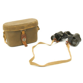 Original WWII Imperial Japanese 6 x 9.3 Binoculars with Tropical Case and Neck Strap