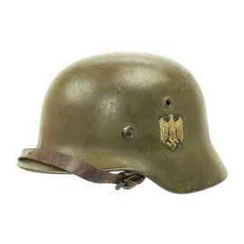 Original German WWII Army Heer M40 Named Single Decal Helmet - ET64