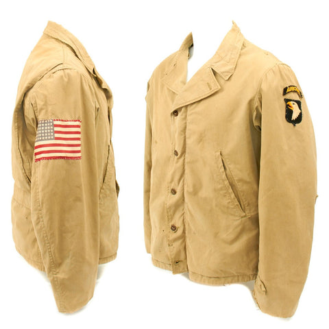 Original U.S. WWII 101st Airborne Division M-1941 Field Jacket with D-Day Invasion Flag Patch