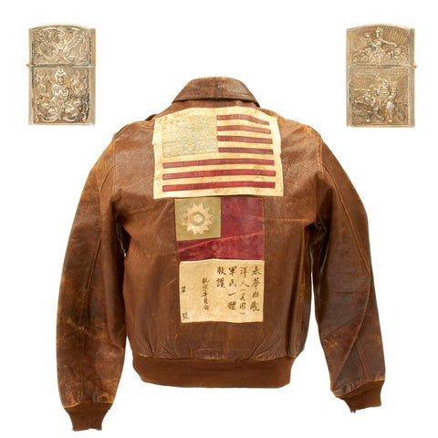 Original U.S. WWII China Burma India Theater A2 Leather Flight Jacket with Sterling Silver Lighter