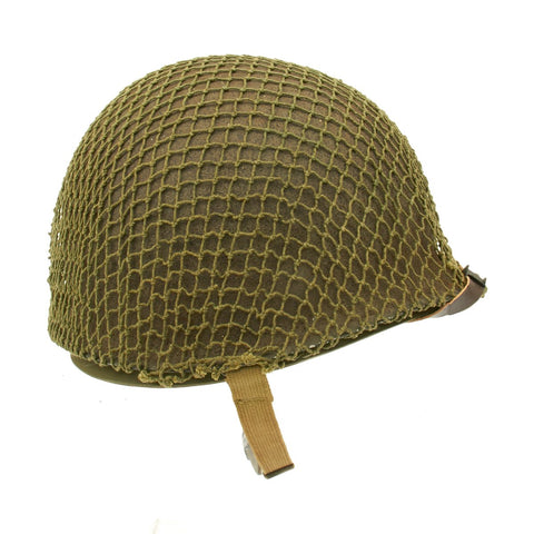 Original U.S. WWII 1943 M1 McCord Fixed Bale Front Seam Helmet with Net - Firestone Tire & Rubber Co Liner