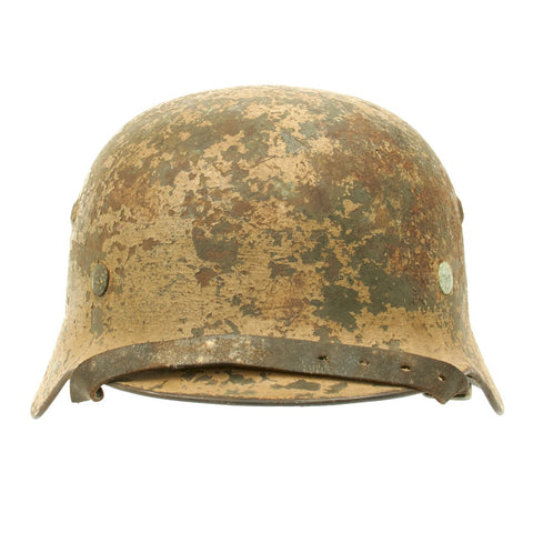 Original German WWII Normandy Camouflage M35 Named Helmet - SE64