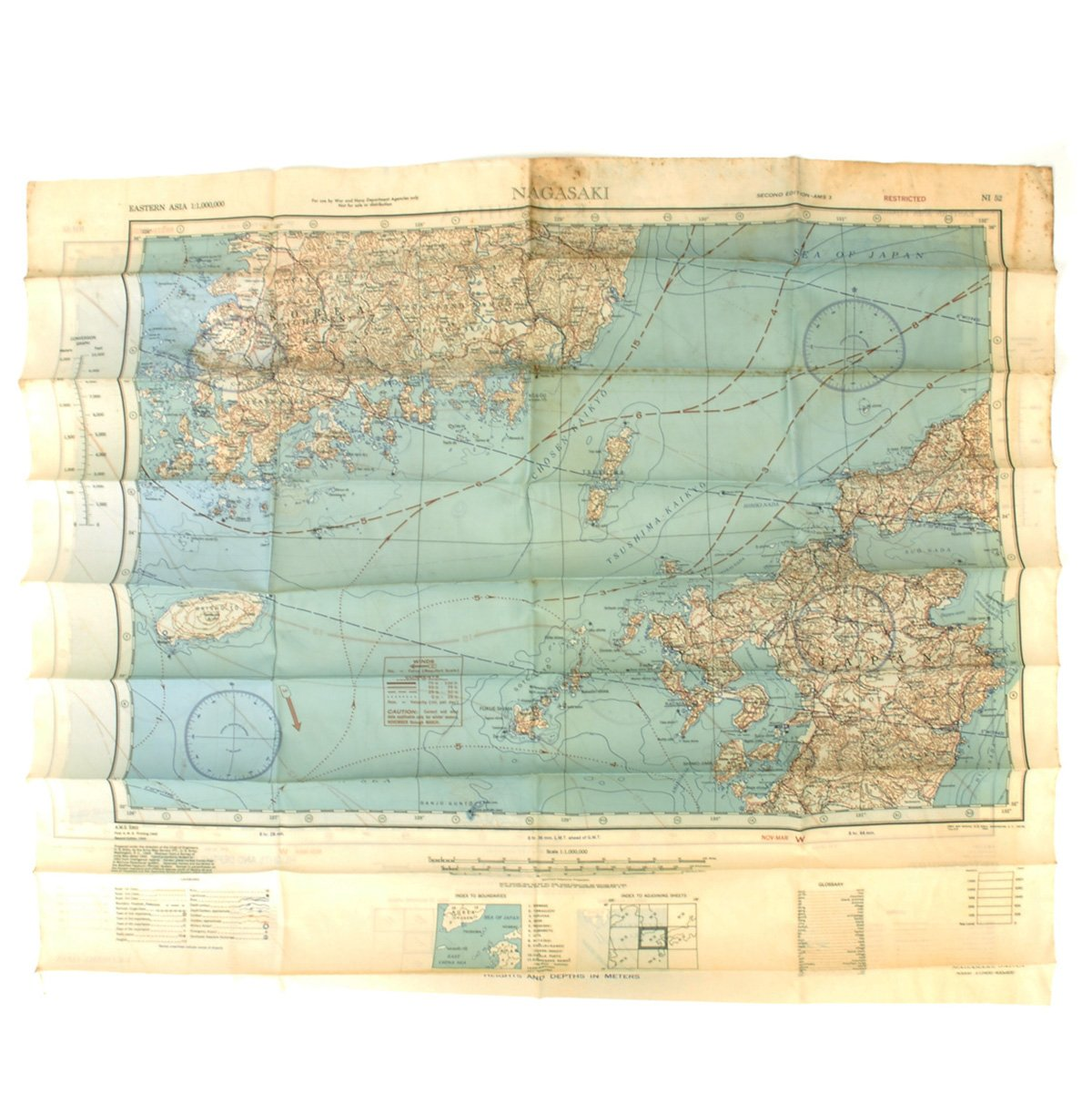 Nagasaki On World Map.Original U S Wwii Army Air Forces Silk Escape Map Nagasaki And