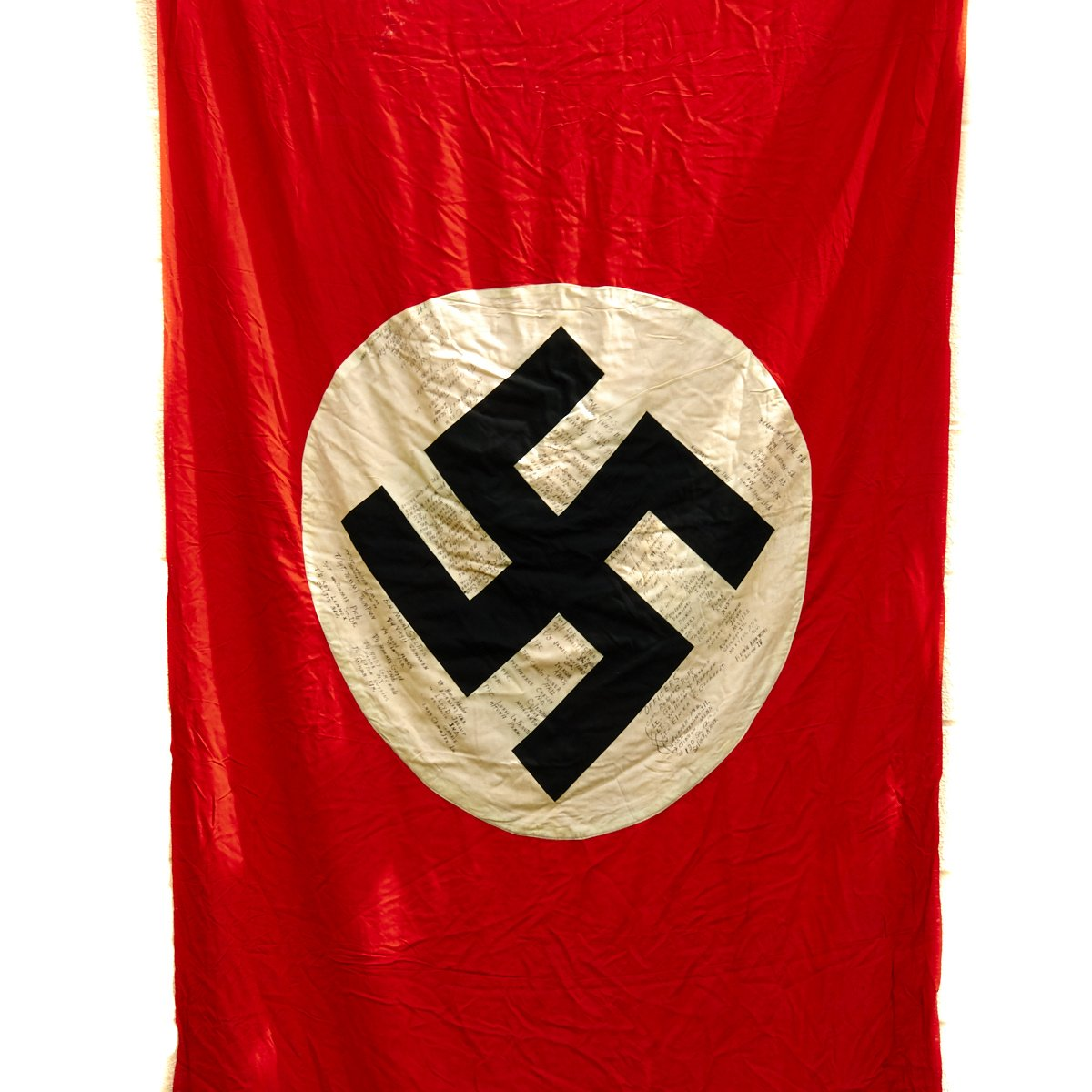 Original German WWII National Flag Banner Signed by 3rd
