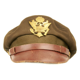 Original U.S. WWII USAAF Named Officer OD Green Crush Cap by Bancroft