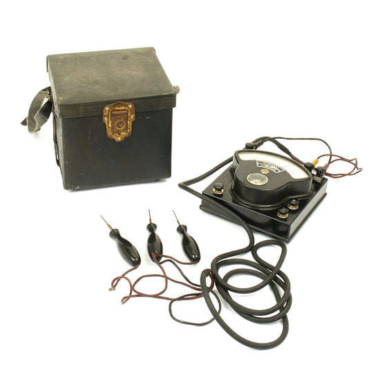 Original Japanese WWII Navy Voltmeter with Case with Cords and Probes
