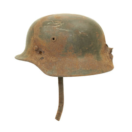 Original German WWII KIA Shot Through M40 Helmet