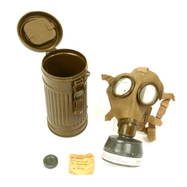 Original Italian WWII M31 Gas Mask with Filter in Original 1936 German Canister