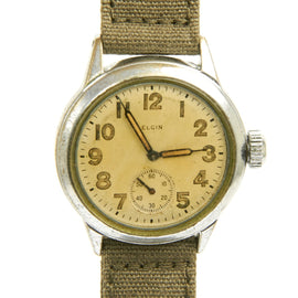 Original U.S. WWII Army Officer 15-Jewel Wrist Watch 8/0 Size by ELGIN - Fully Functional