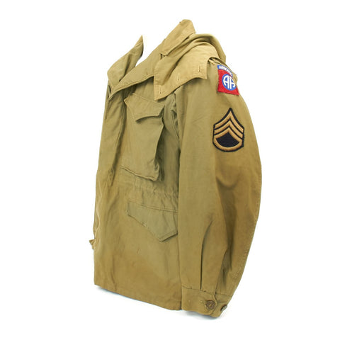 Original U.S. WWII 82nd Airborne Division M-1943 M43 Field Jacket with Hood