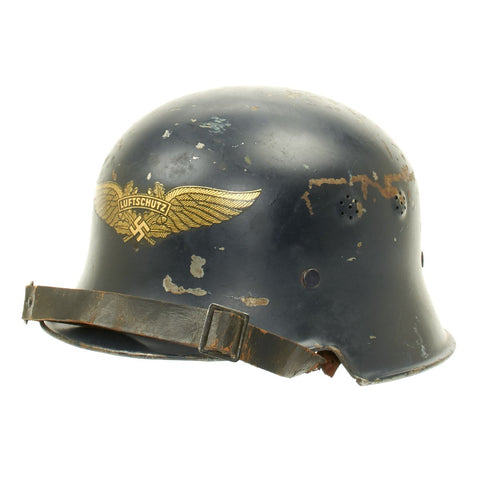 Original German WWII Square Dip M1934 Luftschutz Air Defense Helmet