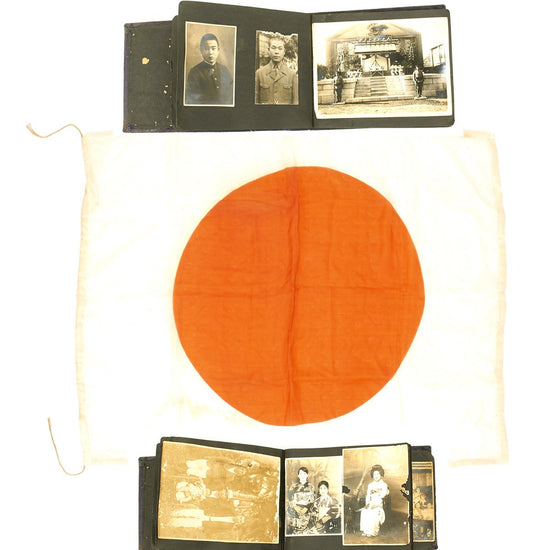 Original Japanese WWII Pilot's Flotation Flag and Photo Album - USGI Bring Back