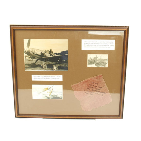 Original German WWII Luftwaffe Messerschmitt Bf 109 Shotdown Rudder Section Framed Tribute- Me 109