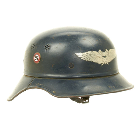 Original German WWII M38 Luftschutz Air Defense Gladiator Helmet - NSDAP Marked