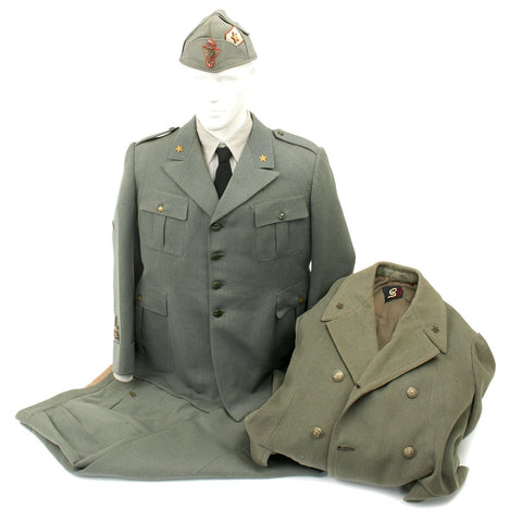 Original WWII Italian General Uniform with Bustina Field Cap and Greatcoat