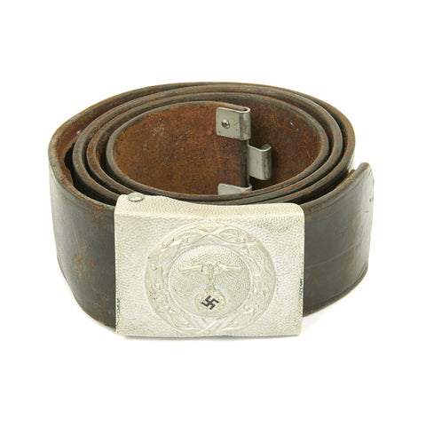 Original German WWII Early RLB EM/NCO Leather Belt and Plated Brass Buckle - Rare