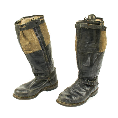 Original German WWII Luftwaffe Electric Heated Leather Flight Boots - USGI Bring Back