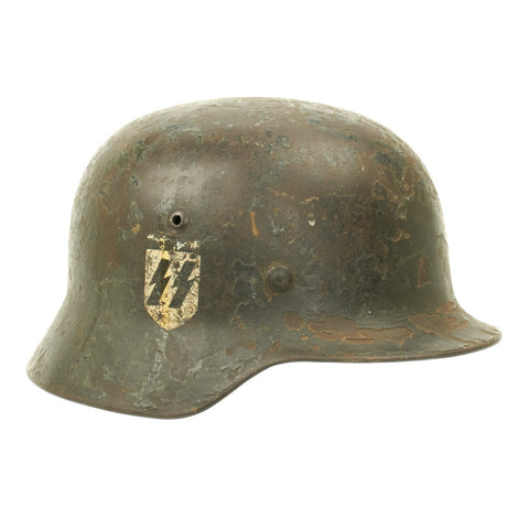 Original German WWII M35 Helmet with Replica SS Decal and Liner - Marked ET66