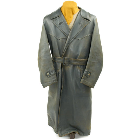 Original German WWII Luftwaffe Officer Grey Leather Greatcoat - Size 42
