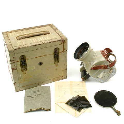 Original German WWII Luftwaffe Aerial Camera Handkammer Hk 12.5cm in Transit Chest with Bring Back Papers