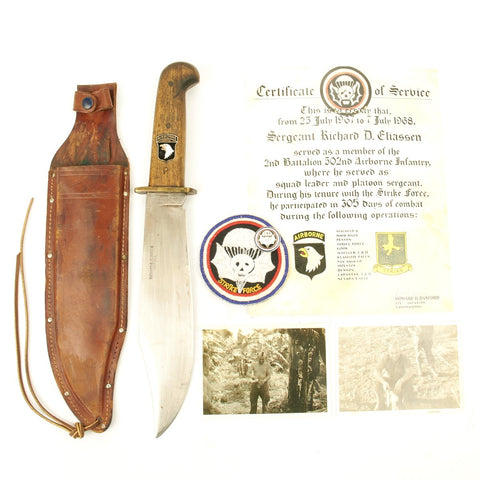 Original U.S. Vietnam War 101st Airborne Named Bowie Knife Grouping