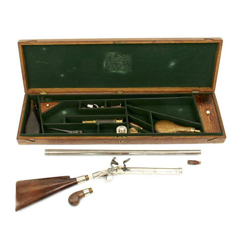 Original English 1810 Flintlock Convertible Combination Pistol and Fowling Gun by Perry of London in Custom Wood Case Original Items