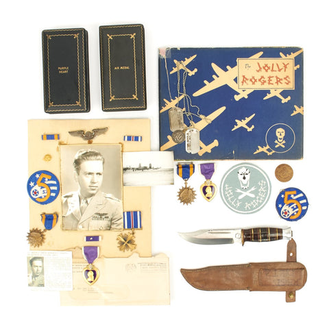 Original U.S. WWII 90th Bomb Group Jolly Rodgers KIA B-24 Liberator Navigator Grouping - Distinguished Flying Cross