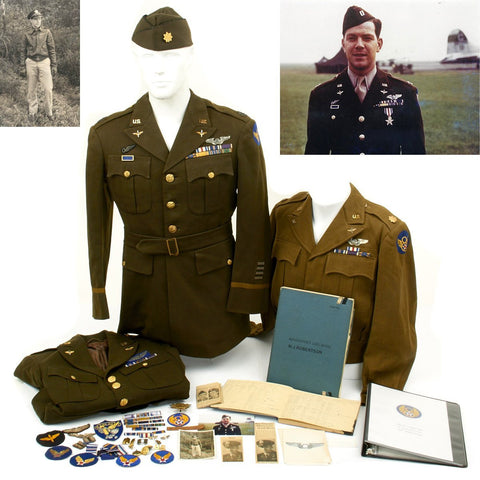 Original U.S. WWII KIA B-17 Navigator 305th Bomb Group Silver Star and DFC Named Uniforms and Documents