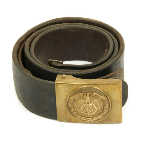 Original German WWII SA EM/NCO Belt with Brass Buckle - Sturmabteilung