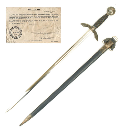 Original German WWII Early Luftwaffe Officer Sword by Eickhorn with USGI Bring Back Certificate