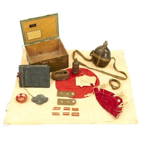 Original WWII Japanese Bring Back Grouping - Flag, Photo Album, Type 89 Mortar and More