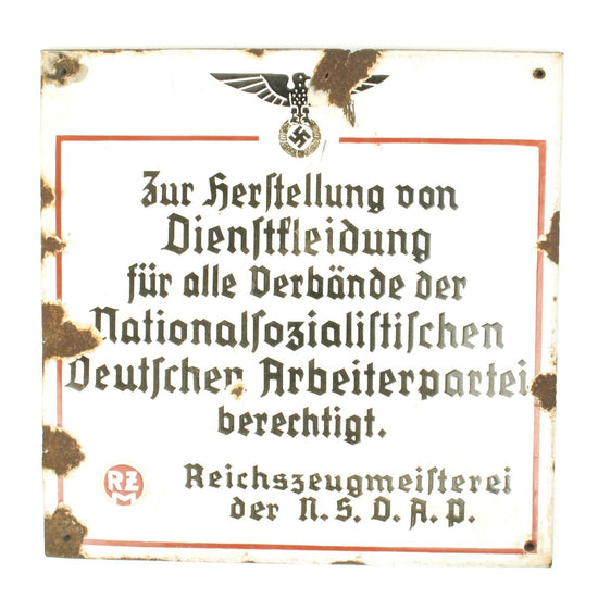 "Original German WWII NSDAP Enamel Sign - 15"" x 15"""
