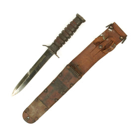 Original U.S. WWII M3 CASE Paratrooper Knife with BARWOOD M6 1943 Dated Scabbard
