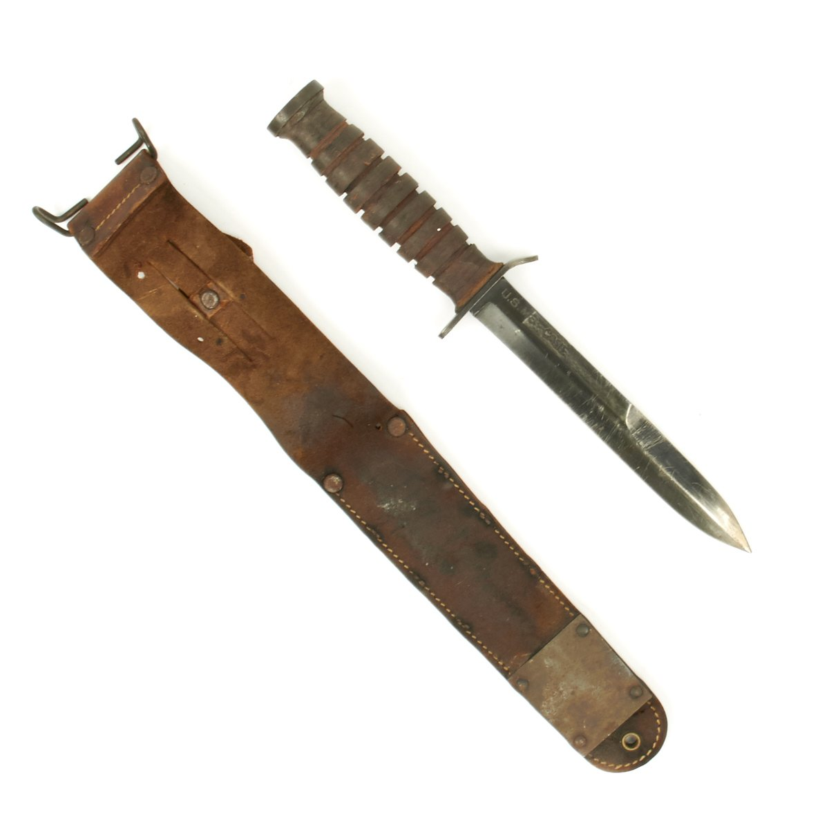 Original U S  WWII M3 CASE Paratrooper Knife with BARWOOD M6 1943