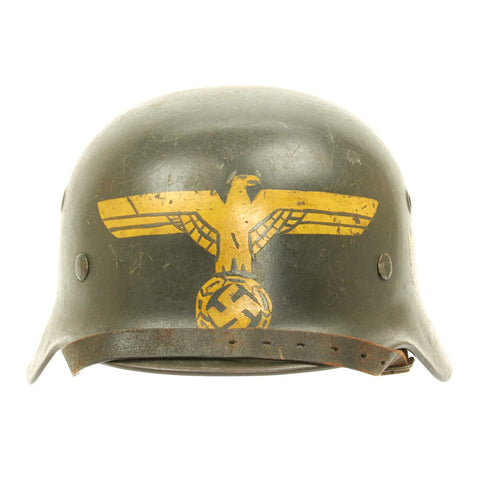 Original German WWII Army Heer M40 Named Single Decal Trench Art Helmet  - ET66