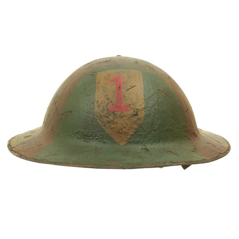Original U.S. WWI M1917 Refurbished Doughboy Helmet of the 1st Infantry Division - The Big Red One