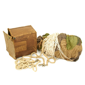 Original German WWII Luftwaffe Camouflage Fallschirmjager Paratrooper Complete RZ20 Parachute in Bring Home Box with Certificate - Dated 1942