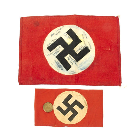Original German WWII National Flag and NSDAP Arm Band Signed by USGIs - Dated November 1944