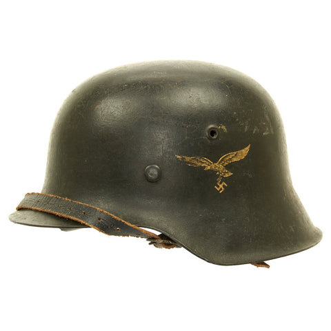 Original German WWII Luftwaffe M42 Single Decal Helmet - ET64