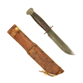 Original U.S. WWII RH Pal 36 Fighting Knife with Personalized Pacific Theater Leather Scabbard