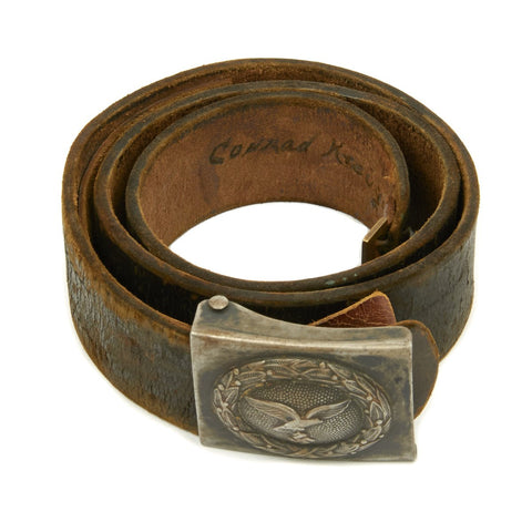 Original German WWII Named Luftwaffe Belt with Steel Painted Buckle